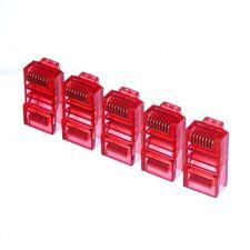 20pcs color Netrack plugs RJ45 8p8c red transparent UTP for solid cable cat5e