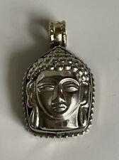 Vintage Tibetan Nepali Small Silver Repousse Pendant Buddha & Lotus 16.2g