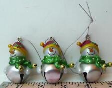 Blank Jingle Bell Ganz Snowman Ornaments Lot of Three