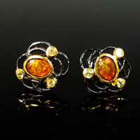 Discount Sale Natural Orange Opal 925 Sterling Silver Earrings /E37895