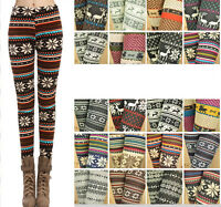 Winter Warm Womens Knitted Cotton Blend Christmas Xmas Soft Jeggings Leggings