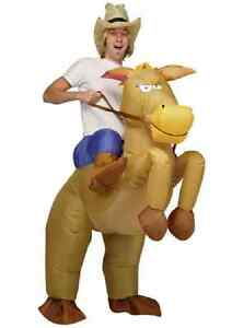 ADULT INFLATABLE HORSE & COWBOY FANCY DRESS COSTUME HALLOWEEN PARTY BUCKS NIGHT