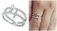 Sterling Silver 925 DOUBLE SIDEWAY CROSS DESIGN PLAIN & CLEAR CZ RING SIZES 4-12