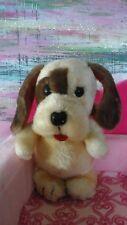 Dakin puppy Dog Plush Stuffed red collard brown cream vintage 1981 toy bean bag