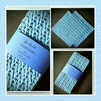 👗💙(2) Cotton Wash/Face Cloths Exfoliating Cleansing Crochet Dish Light Blue 💙
