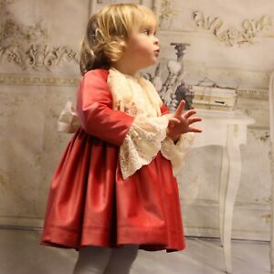 BNWT girls spanish red dress with cream lace fit age 3 years rrp £69.99