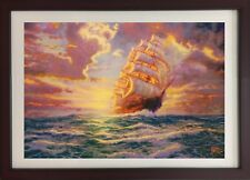 Courageous Voyage by Thomas Kinkade (Framed Art Ocean Landscape Colorful Ship)