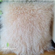 PASTEL PEACH 40x40CM GENUINE MONGOLIAN SHEEPSKIN LAMB WOOL FUR CUSHION COVER