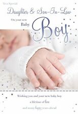 A Special Daughter & Son-In-Law On The Birth Of Your Baby Boy Feet Design Card