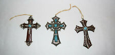 Brown, Silver, Turquoise Cross Ornaments w/ Twine Hanger - Set of 3 - Brand New