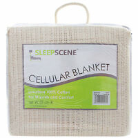 Sleepscene 100% Cotton Cellular Blanket Cream Single Double King Super King