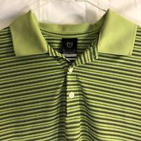 Nike Mens Large Lime Green Golf DriFit UV Polo Stripe Shirt