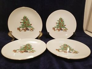 NIB Set of 4 Home for the Holidays 22K Gold Trim Cake Plates Meiwa Fine China
