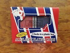 2-Decks 100% Plastic Playing Cards Set Plastic Case Vintage NEW