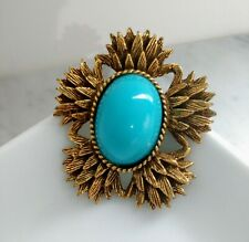 Vintage Large Maltese Turquoise Golden Tone Brooch Pin