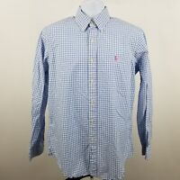 RECENT Ralph Lauren Men's Blue Check L/S Casual Dress Button Shirt Sz Medium M