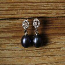 Boucles d'Oreilles Clous Perle de Culture Grise Noire Argent Massive 925 Ovale