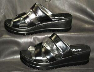 Alegria MIR-101 women's black leather cross strap mule sandal shoes size EUR 40