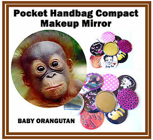 Baby Orang-Utan - Handtasche / Taschen Make-Up Kompakt Spiegel - Brandneu -