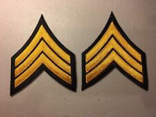 1 Pair Sergeant Detective Police Security Chevrons Stripes Patch Black/Gold