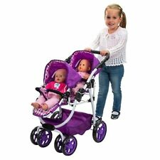 Dolls Pram Reversible Pushchair TWINS Tandem Stroller Double Kids Girls Buggy