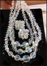 Brilliant Vintage 1960s Aurora Borealis Crystal Choker Necklace & Clip Earrings