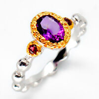 Natural Amethyst 925 Sterling Silver Fine jewelry Vintage Art deco  Ring / RVS32
