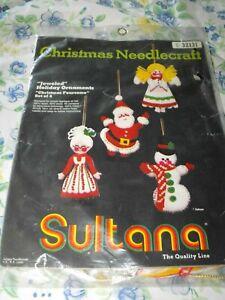 "Sultana CHRISTMAS NEEDLECRAFT KIT Jeweled Holiday Ornaments ""Christmas Foursome"""