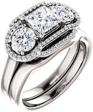 3 stone Princess & Round Diamond Engagement Wedding Ring 14k Gold 1.85 tcw