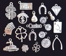 20pcs GOOD LUCK CASINO Theme Charm Set, Size 14mm to 24mm, Tibetan Silver
