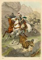 HUNTING Wild Goats on Horseback, Antique 1860s Hand-Colored Engraving Print