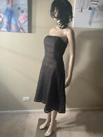 ABS Evening By Allen Schwartz Cocktail Midi Strapless Dress Size 6 Length 35""