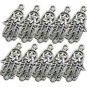 10Pcs Antique Silver Hamsa Hand Filigree Charms Pendants Lots Wholesale DIY