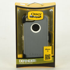 OtterBox Defender iPhone 5 Hard Case w/Holster Belt Clip White Gray Glacier NEW