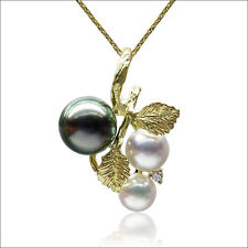 AAA 6-9mm Multicolor Real Tahitian Akoya Pearl Diamond Pendant 18K Yellow Gold