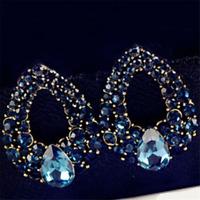 Women Delicate Drop Luxury Crystal Blue Rhinestone Earring Stud Dangle Earrings