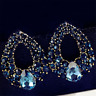 Hot Women Charm Drop Luxury Crystal Blue Rhinestone Earring Stud Dangle Earrings
