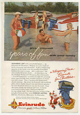 Vintage 1955 EVINRUDE OUTBOARD MOTOR Full-Page Ad - Boating & Fishing, Christmas