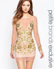 Maya Petite Sheer Mini Dress With Embellished Overlay Cream/Gold UK10