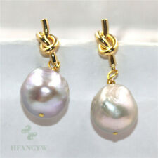 14-15mm Gray Baroque Pearl Earrings 18k Ear Stud Natural Real Party Jewelry