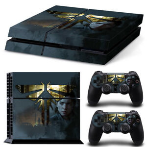 PS4 Playstation 4 Console Skin Decal Sticker Last of US 2 Custom Design Set
