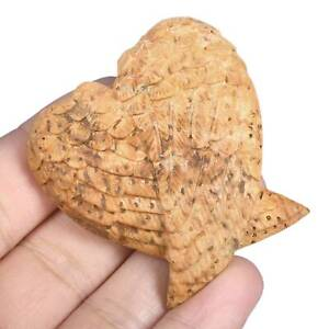 """1.93""""Natural Coral Fossil Carved Angel Wings Good Prayer for Blessings #32T06"""