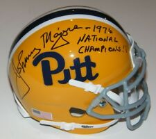 Johnny Majors Signed Auto Pitt Panthers Mini Helmet w/1976 Natl Champs - Proof