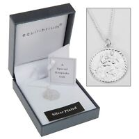 necklace Silver Plate Christening st christopher childs baby keepsake chain gift
