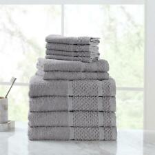 10 Piece Towel Set 100% Cotton Bath Towels Wash Cloths Hand Dry Absorbent Soft