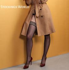 Black Hold Ups Stockings With Black Modern style Welt - Size Medium NEW UK!!