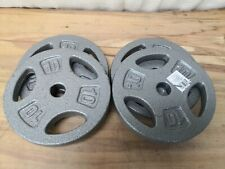 """x4 10 LB CAP 1"""" Hole Iron GRIP Weight Plates Set of Four - 40 Lbs. Total"""