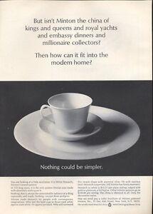 "1965 Minton PRINT AD English Bone China ""White Monarch"" Pattern"