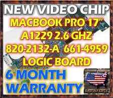 """MACBOOK PRO 17"""" A1229 2.6GHZ 820-2132-A 661-4959 LOGIC BOARD REPAIR **NEW GPU**"""