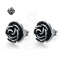 Silver black stud stainless steel vintage style rose flower earrings soft Gothic